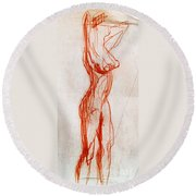 Live Model Study 1 Round Beach Towel