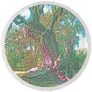 Live Oak On The Teche Round Beach Towel
