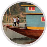 Living On The Mekong Round Beach Towel