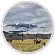 Livingstone Range And Pastureland Round Beach Towel