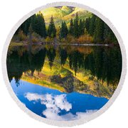 Lizard Lake Reflections Round Beach Towel