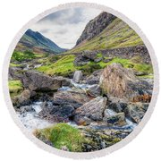Llanberis Pass Round Beach Towel by Adrian Evans
