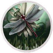 Ll's Dragonfly Round Beach Towel