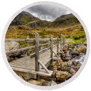 Llyn Idwal Bridge Round Beach Towel by Adrian Evans