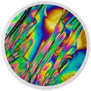 Lm Of Tartaric Acid Crystal Round Beach Towel