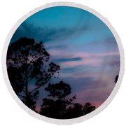Loblelly Pine Silhouette Round Beach Towel by DigiArt Diaries by Vicky B Fuller