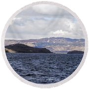 Loch Lomond - Pano1 Round Beach Towel