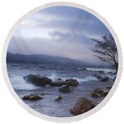 Loch Ness Shoreline At Dusk Round Beach Towel