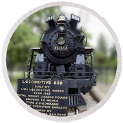 Locomotive 639 Type 2 8 2 Front View Round Beach Towel
