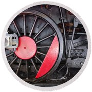 Locomotive Wheel Round Beach Towel by Carlos Caetano