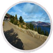 Lodge On The Crater Round Beach Towel