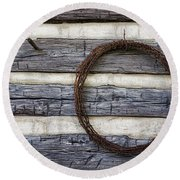 Log Cabin And Barbed Wire Round Beach Towel