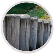 Log Handrail Round Beach Towel
