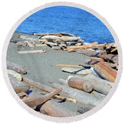Logged Out Round Beach Towel