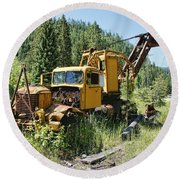 Logging Truck 2 - Burke Idaho Ghost Town Round Beach Towel