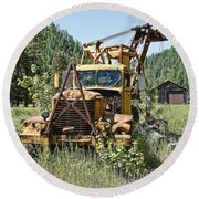 Logging Truck - Burke Idaho Ghost Town Round Beach Towel