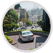 Lombard Street San Francisco Round Beach Towel