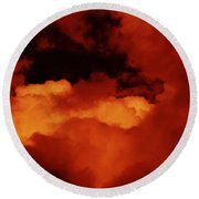 Lomo Moon And Clouds Round Beach Towel