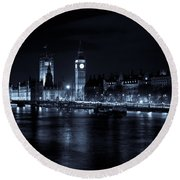 London At  Night View Round Beach Towel