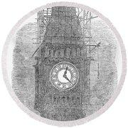 London: Big Ben, 1856 Round Beach Towel
