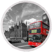 London Big Ben And Red Bus Round Beach Towel