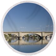 London Bridge And Reflection Round Beach Towel