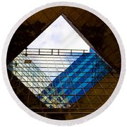 London Building Abstract Round Beach Towel