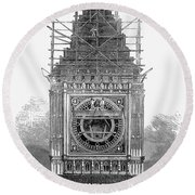 London: Clock Tower, 1856 Round Beach Towel
