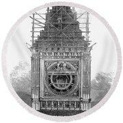 London: Clock Tower, 1856 Round Beach Towel
