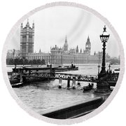 London England - House Of Parliament - C 1909 Round Beach Towel