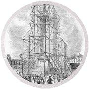 London: Nelson Column, 1845 Round Beach Towel