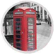 London Phone Box Round Beach Towel