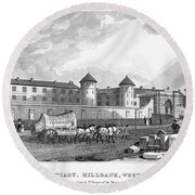 London: Prison, 1829 Round Beach Towel