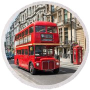 London Red Bus Round Beach Towel