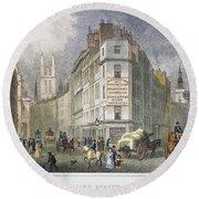 London: Street Scene, 1830 Round Beach Towel