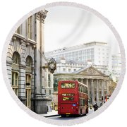 London Street With View Of Royal Exchange Building Round Beach Towel