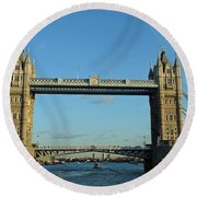 London Tower Bridge Looking Magnificent In The Setting Sun Round Beach Towel