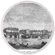 London: Waterfront, 1750. /nlondon Bridge And Dyers Wharf. Wood Engraving After A Painting By S. Scott, C1750 Round Beach Towel