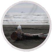Lone Gull Round Beach Towel