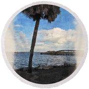 Lone Palm Tree Round Beach Towel
