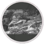 Lone Ram At Red Rock Canyon Round Beach Towel