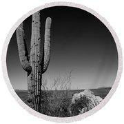 Lone Saguaro Round Beach Towel by Chad Dutson