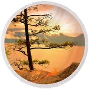 Lone Tree At Ellison Park Round Beach Towel