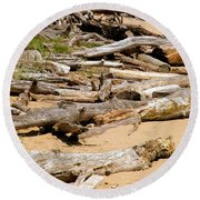 Lonely Driftwood Round Beach Towel