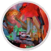 Lonely In The Big City Round Beach Towel
