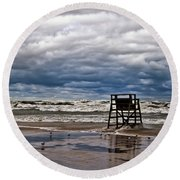 Lonely Lifeguard Chair 2 Round Beach Towel
