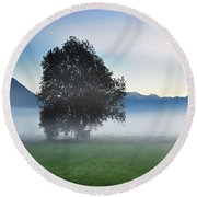 Lonely Tree In The Fog Round Beach Towel
