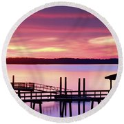 Long After Sunset Round Beach Towel