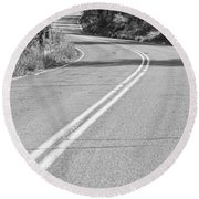 Long And Winding Road Bw Round Beach Towel