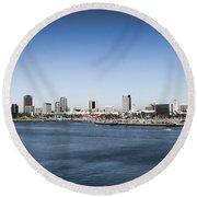 Long Beach Skyline Round Beach Towel